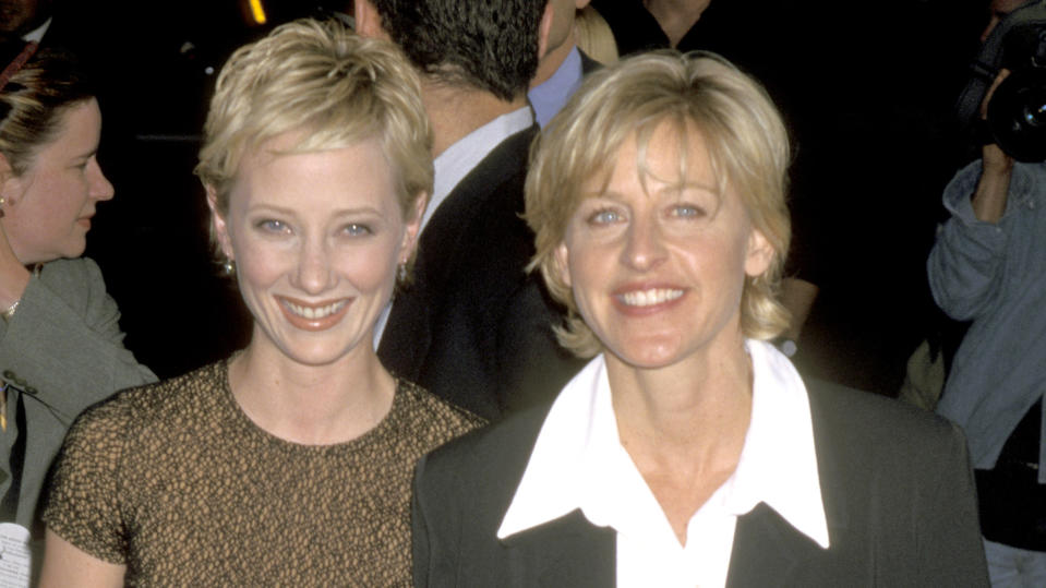 Anne Heche and Ellen DeGeneres at the Hollywood premiere of 'Volcano' in 1997. (Photo by Ron Galella/Ron Galella Collection via Getty Images)