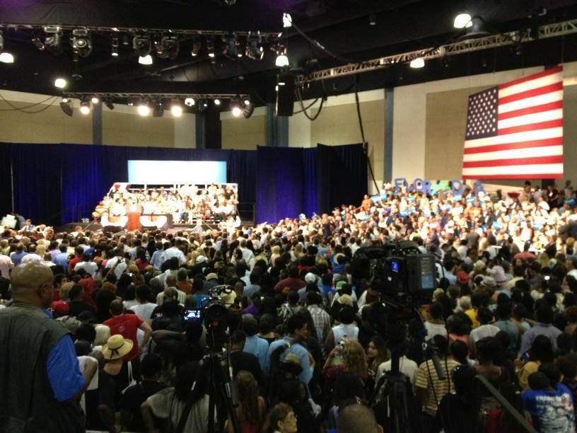 Not pictured: the other 4/5ths of this crowd. West Palm Beach rally for Pres Obama