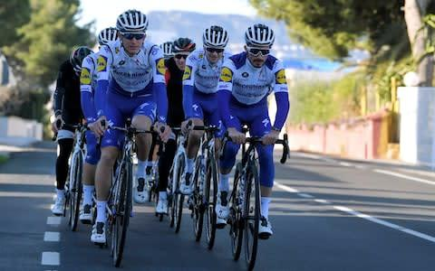 <span>Julian Alaphilippe training with the Deceuninck - Quick-Step Team</span> <span>Credit: Luc Claessen/Getty Images </span>