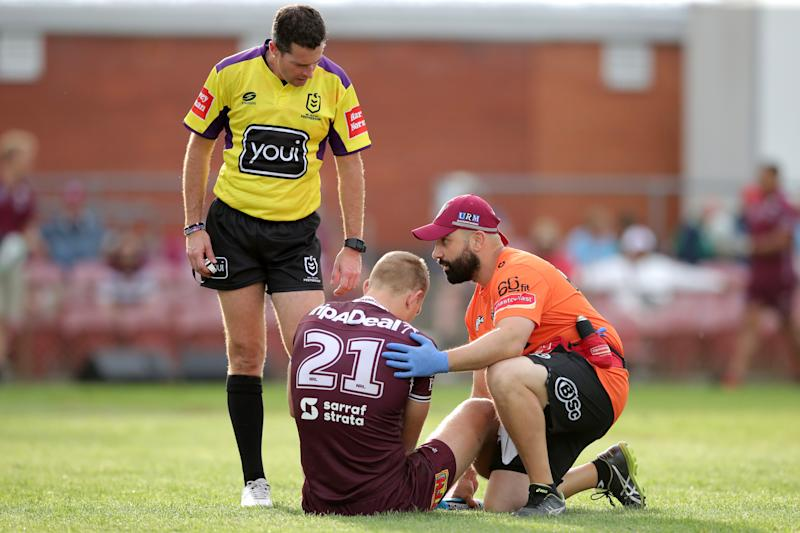 Tom Trbojevic in pain during a match for the Manly Sea Eagles in Round 19.