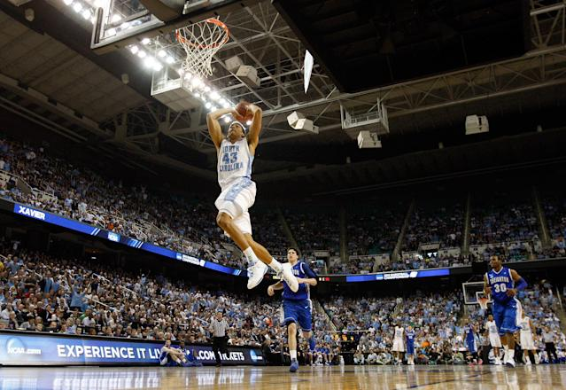 GREENSBORO, NC - MARCH 18: James Michael McAdoo #43 of the North Carolina Tar Heels dunks the ball against the Creighton Blue Jays during the third round of the 2012 NCAA Men's Basketball Championship at Greensboro Coliseum on March 18, 2012 in Greensboro, North Carolina. (Photo by Streeter Lecka/Getty Images)