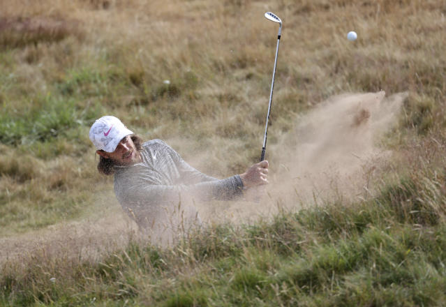 Tommy Fleetwood practicing during preview day one of The Open Championship 2018 at Carnoustie Golf Links, Angus, Britain, Sunday, July 15, 2018. (Richard Sellers/PA via AP)