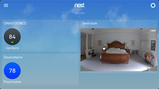 The camera's image shows up in the same app that controls Nest thermostats and smoke detectors.