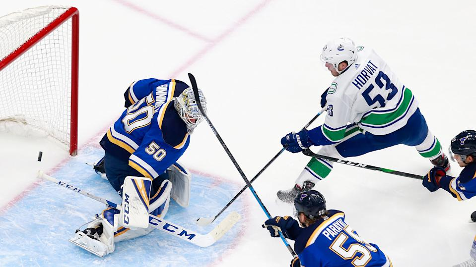 It doesn't get better than Bo Horvat's opening goal for the Vancouver Canucks. (Jeff Vinnick/Getty Images)