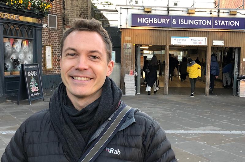 James Clark, the Conservative candidate for Islington North, outside Highbury and Islington station ahead of a leafleting session in nearby Finsbury Park (James Morris)