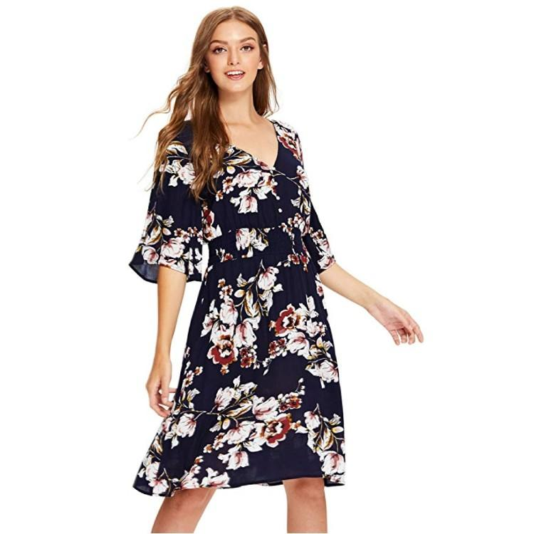Flowy sleeves come down to the elbow, covering the upper arm. (Photo: Amazon)