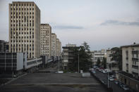 Housing projects are pictured from the police station in the Paris suburb of Sarcelles, Tuesday, June, 15, 2021. The view from the Sarcelles police station looks out over tower blocks that were once the height of modernity but which now, like public housing in many of Paris' tough neighborhoods, often looks worse for wear. (AP Photo/Lewis Joly)
