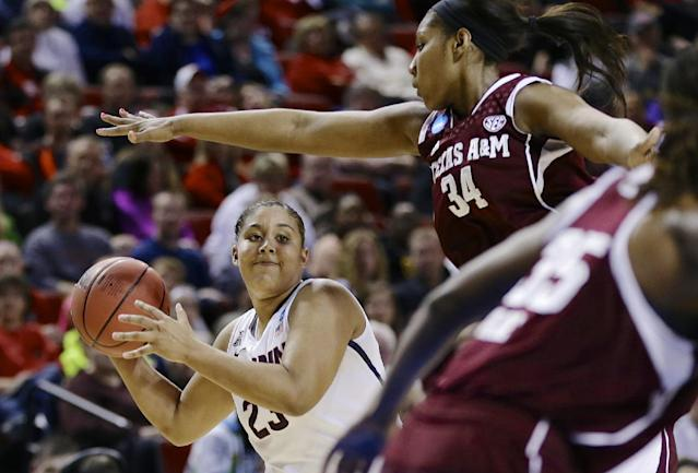 Connecticut's Kaleena Mosqueda-Lewis (23) looks to pass the ball against the defense of Texas A&M's Karla Gilbert (34) during the first half of a regional final game in the NCAA college basketball tournament in Lincoln, Neb., Monday, March 31, 2014. (AP Photo/Nati Harnik)
