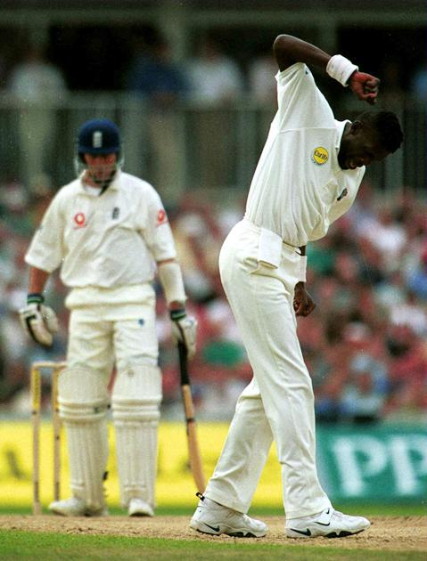 31 Aug 2000: Curtly Ambrose of the West Indies celebrates trapping Michael Vaughan of England leg before Wicket for ten during the Fifth Cornhill Insurance Test between England and the West Indies at the Oval, London. Mandatory Credit: Laurence Griffiths/ALLSPORT