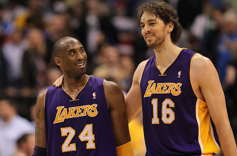 Kobe Bryant and Pau Gasol won a pair of championships together. (Photo by Ronald Martinez/Getty Images)