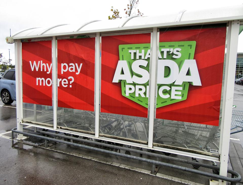 Asda's famous slogan 'thats Asda Price' seen on the side of a trolley station at one of their super-centres. UK's third biggest supermarket chain Asda has been sold by its US owner Walmart.Billionaire brothers Mohsin & Zuber Issa and private equity firm TDR Capital won the bidding war in a �6.8billion deal. The Blackburn based Issa brothers own EG Group, which they built from a single petrol station in 2001 to more than 6,000 sites around the globe and an annual turnover of �20billion. It will be the first time Asda has been in British ownership for over 20 years. (Photo by Keith Mayhew / SOPA Images/Sipa USA)