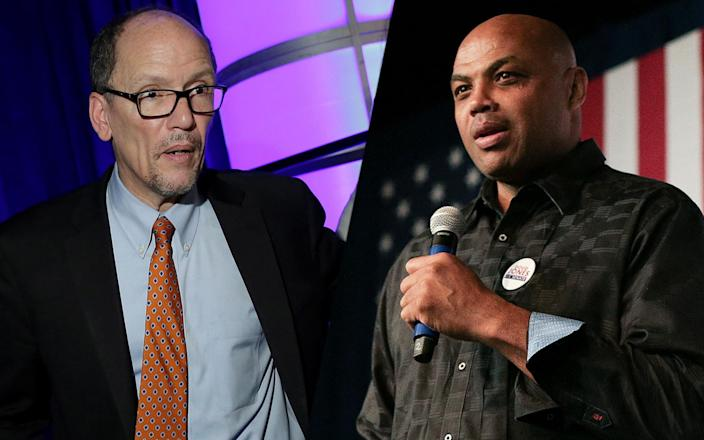 Tom Perez, Charles Barkley. (Photos: Joshua Roberts/Reuters, Marvin Gentry/Reuters)