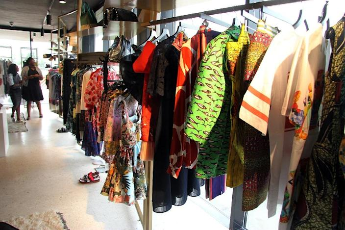 Clothes for sale are displayed at Alara, a new retail concept store on Victoria Island in Lagos (AFP Photo/Emmanuel Arewa)
