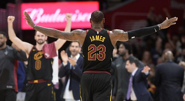 Apr 5, 2018; Cleveland, OH, USA; Cleveland Cavaliers forward LeBron James (23) celebrates the Cavs victory over the Washington Wizards during the second half at Quicken Loans Arena. Mandatory Credit: Ken Blaze-USA TODAY Sports TPX IMAGES OF THE DAY