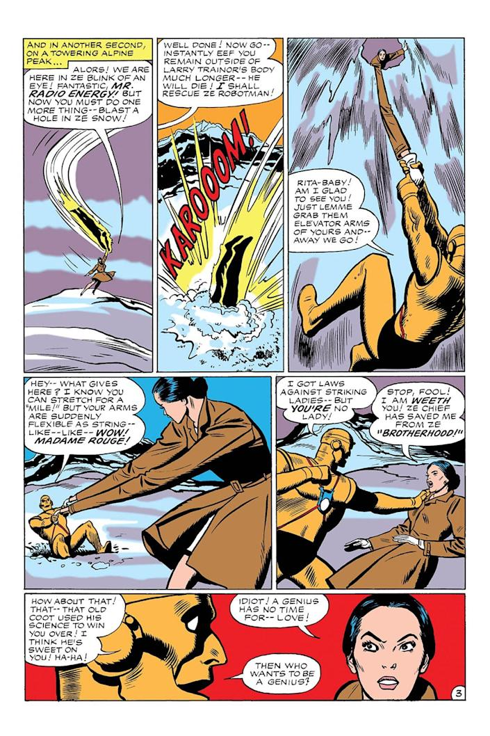 A page from Doom Patrol shows Cliff being saved by Madame Rouge