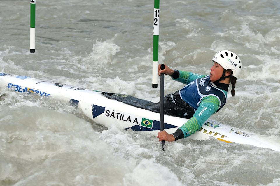 Brazil's Satila Ana competes during the Canoe (C1) Women Final event of the World Canoe-Kayaking Cup in Pau, southern France, on November 8, 2020. (Photo by GAIZKA IROZ / AFP) (Photo by GAIZKA IROZ/AFP via Getty Images)
