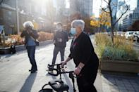 Van attack victim Cathy Riddell arrives at the Superior Court of Justice in Toronto on November 10, 2020