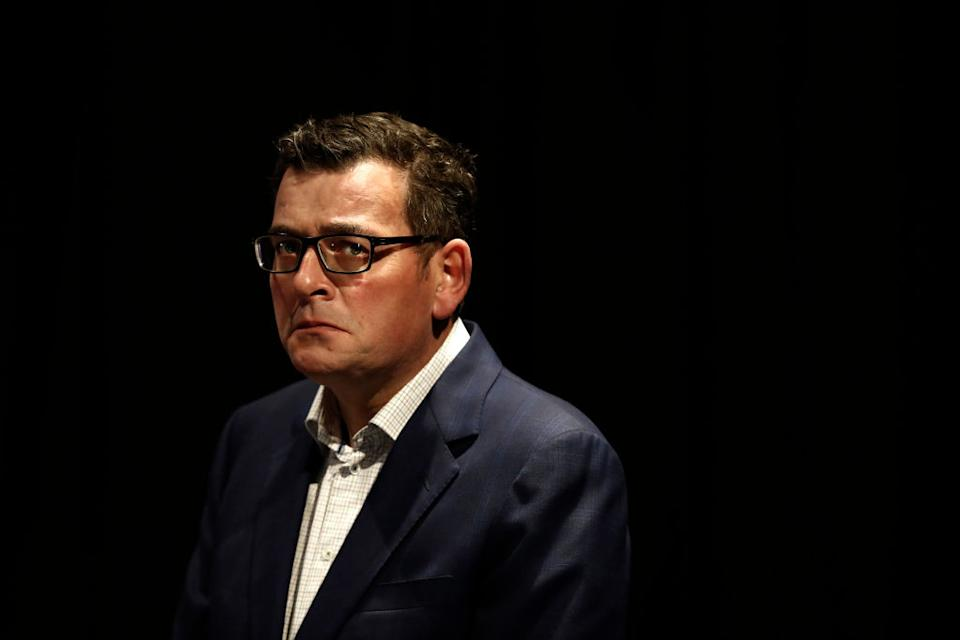 Victoria Premier Daniel Andrews looks on during the media at the daily briefing. Source: Getty