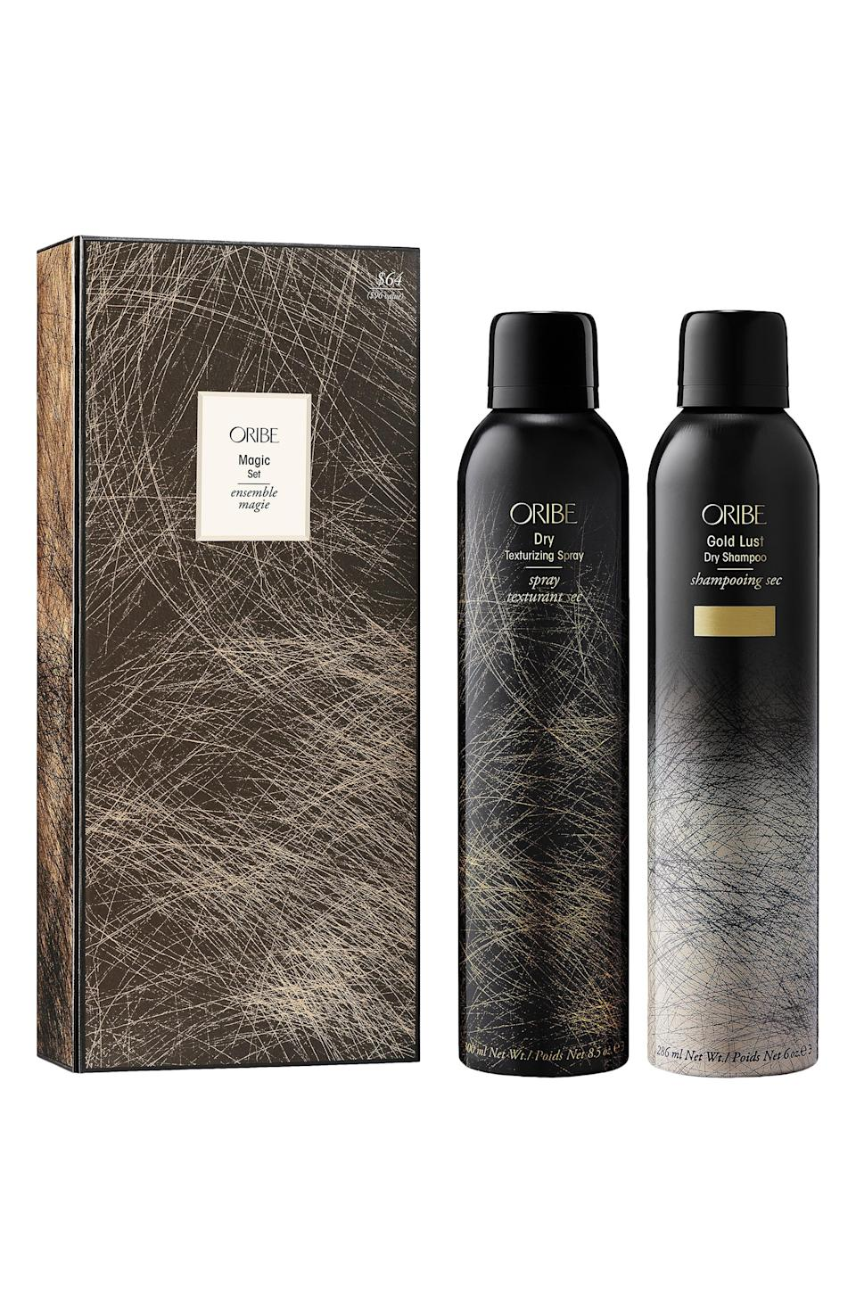 """<p><strong>Oribe</strong></p><p>nordstrom.com</p><p><strong>$64.00</strong></p><p><a href=""""https://go.redirectingat.com?id=74968X1596630&url=https%3A%2F%2Fwww.nordstrom.com%2Fs%2Foribe-magic-duo-full-size-gold-lust-dry-shampoo-dry-texturizing-spray-set-96-value%2F5893532&sref=https%3A%2F%2Fwww.elle.com%2Fbeauty%2Fg36944650%2Fnorstrom-anniversary-beauty-sale-2021%2F"""" rel=""""nofollow noopener"""" target=""""_blank"""" data-ylk=""""slk:Shop Now"""" class=""""link rapid-noclick-resp"""">Shop Now</a></p><p>For waves that are beachy and cool, you'll need this dry shampoo and texturizing spray duo. Lie to your friends and say that your hair dried that way when everyone knows that you spend 30 minutes styling.</p>"""