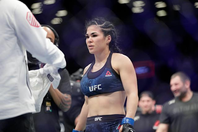 Rachael Ostovich returned to mixed martial arts in January. (AP Photo/Frank Franklin II)