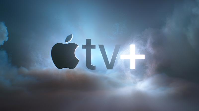 Apple TV+ logo against a cloudy sky background.