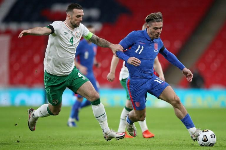 Jack Grealish (in blue) made a positive impression against Ireland in midweek and may start for England against Belgium on Sunday