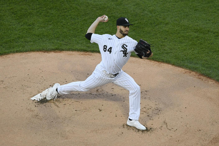 Chicago White Sox starter Dylan Cease delivers a pitch during the first inning of the team's baseball game against the Minnesota Twins on Tuesday, May 11, 2021, in Chicago. (AP Photo/Paul Beaty)