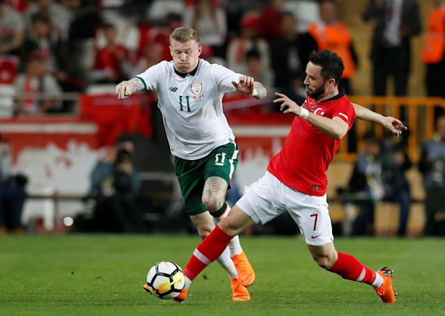 Soccer Football - International Friendly - Turkey vs Republic of Ireland - New Antalya Stadium, Antalya, Turkey - March 23, 2018 Republic of Ireland's James McClean in action with Turkey's Gokhan Gonul REUTERS/Murad Sezer