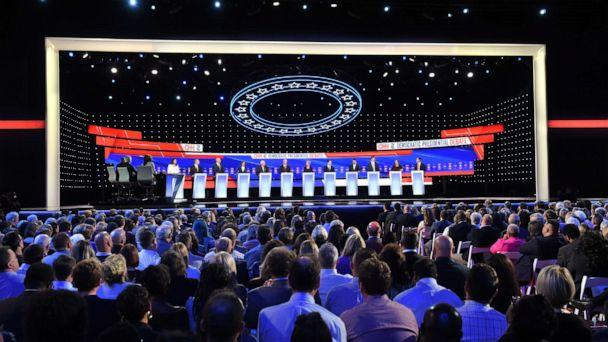 PHOTO: Democratic candidates participate of the fourth Democratic primary debate of the 2020 presidential campaign season co-hosted by The New York Times and CNN at Otterbein University in Westerville, Ohio on October 15, 2019. (Saul Loeb/AFP via Getty Images)