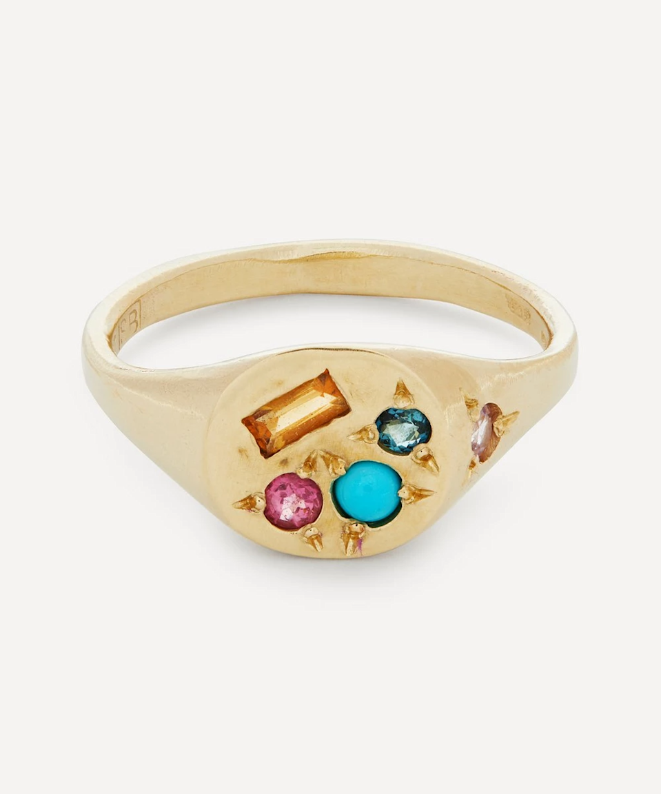 """<h2>Seb Brown Neapolitan Multi-Stone Signet Ring</h2><br>""""I have a real knee-buckling weakness for jewels and gold and things I can put on my fingers — and this ring makes me so emotional I want to cry. Honestly, I salivate over everything Seb Brown makes. While I know rings can be worn all year round, this multi-stoned signet reminds me distinctly of fall with its vibrant colors and various jeweled textures. I faint!!!"""" <em>– Jinnie Lee, Freelance Fashion Writer</em><br><br><em>Shop <a href=""""https://www.libertylondon.com/us/brands/s/seb-brown/"""" rel=""""nofollow noopener"""" target=""""_blank"""" data-ylk=""""slk:Seb Brown at Liberty London"""" class=""""link rapid-noclick-resp"""">Seb Brown at Liberty London</a></em><br><br><strong>Seb Brown</strong> 9ct Gold Neapolitan Multi-Stone Signet Ring, $, available at <a href=""""https://go.skimresources.com/?id=30283X879131&url=https%3A%2F%2Fwww.libertylondon.com%2Fus%2F9ct-gold-neapolitan-multi-stone-signet-ring-R311408006.html"""" rel=""""nofollow noopener"""" target=""""_blank"""" data-ylk=""""slk:Liberty London"""" class=""""link rapid-noclick-resp"""">Liberty London</a>"""