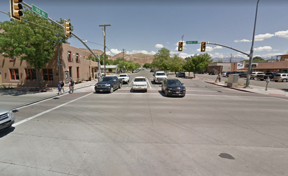 The 911 caller said he saw the dispute happen near Main Street in Moab. Source: Google Maps