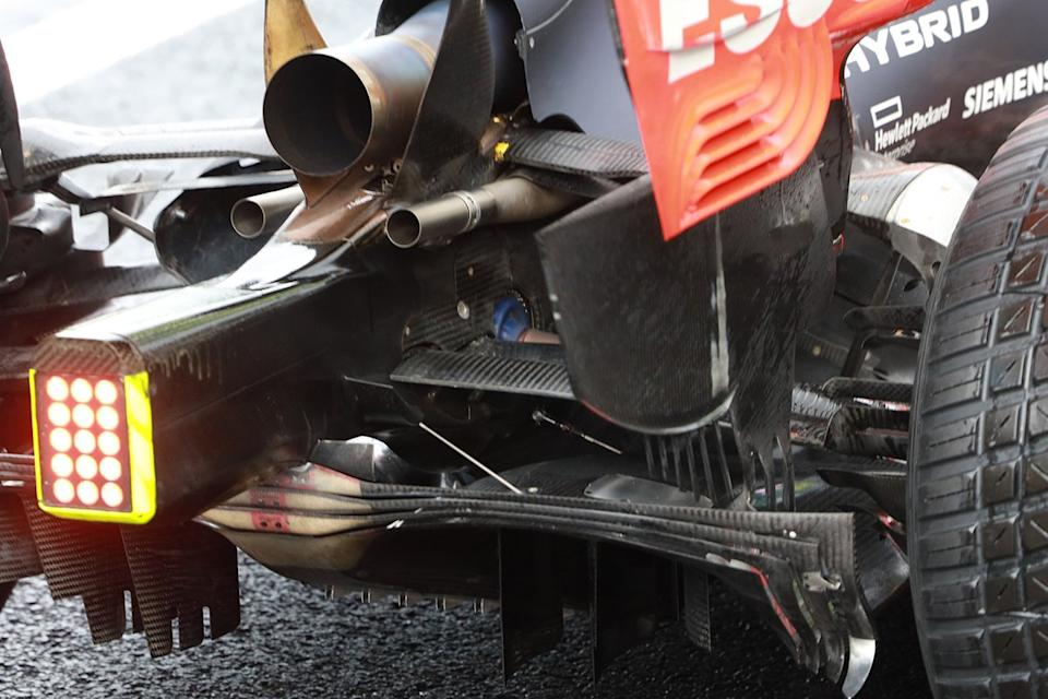 "Red Bull Racing RB16 exhaust detail<span class=""copyright"">Giorgio Piola</span>"