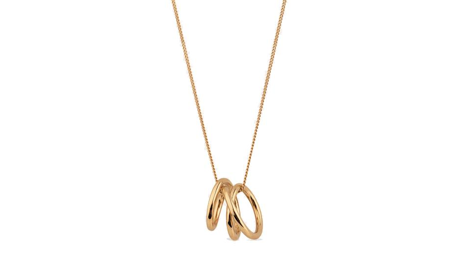 Flow 14ct yellow gold plated vermeil pendant necklace
