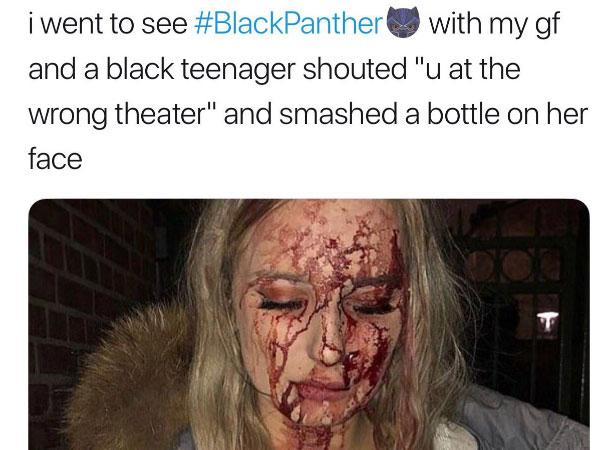 One troll's attempt to use the film Black Panther to spread race hatred was found to have used photos from a news report about a nightclub incident in Sweden: Twitter/@trapafasa