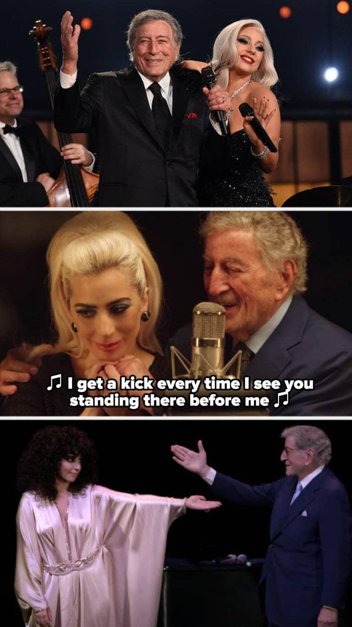 """Gaga and Bennett performing live in 2013; Gaga and Bennett in the studio recording """"I Get A Kick Out Of You;"""" Gaga and Bennett in their music video for """"Anything Goes"""""""