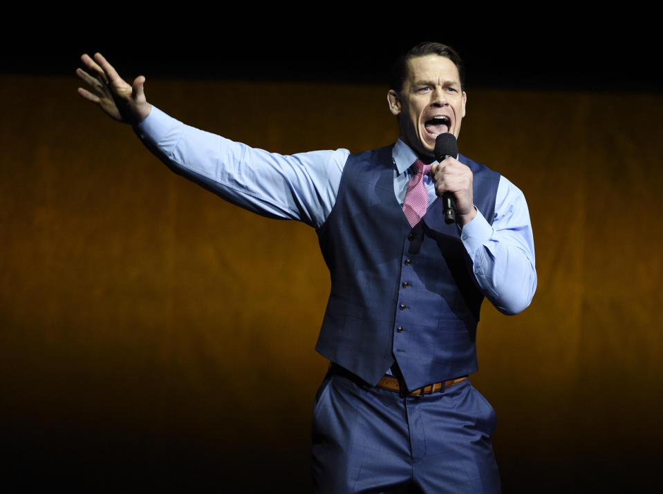 "John Cena, a cast member in the upcoming film ""Playing with Fire,"" addresses the audience during the Paramount Pictures presentation at CinemaCon 2019, the official convention of the National Association of Theatre Owners (NATO) at Caesars Palace, Thursday, April 4, 2019, in Las Vegas. (Photo by Chris Pizzello/Invision/AP)"