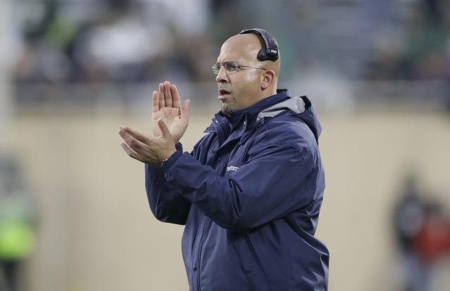 Penn State head coach James Franklin claps during the second half of an NCAA college football game against Michigan State, Saturday, Nov. 4, 2017, in East Lansing, Mich. (AP Photo/Carlos Osorio)