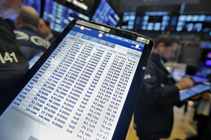 A trader's handheld device shows his sell orders on the floor of the New York Stock Exchange, Monday, March 9, 2020. The Dow Jones Industrial Average plummeted 1,500 points, or 6%, following similar drops in Europe after a fight among major crude-producing countries jolted investors already on edge about the widening fallout from the outbreak of the new coronavirus. (AP Photo/Richard Drew)