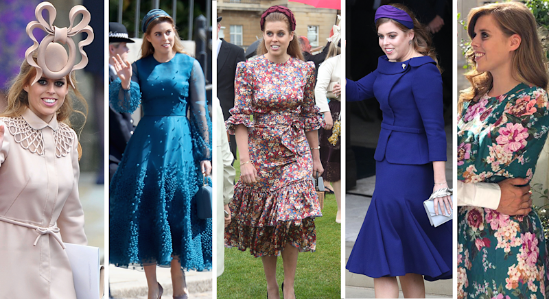 Princess Beatrice at the Duke and Duchess of Cambridge's wedding in 2011, at the Duke and Duchess of Sussex's wedding in 2018, at the Queen's Garden Party in 2019, at Princess Eugenie's wedding in 2018 and in her engagement photos in September 2019. [Photos: PA]