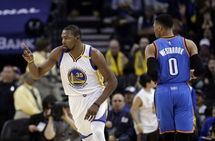 Kevin Durant and Russell Westbrook will meet again on Feb. 11 in Oklahoma City. (AP)