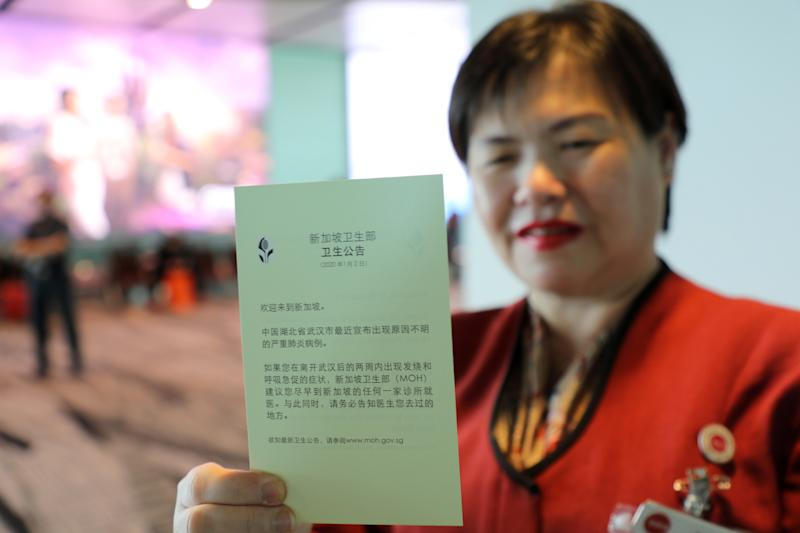 A health pamphlet given to travellers upon their arrival of a flight from Hangzhou, China at Changi Airport on 22 January, 2020. (PHOTO: Reuters)