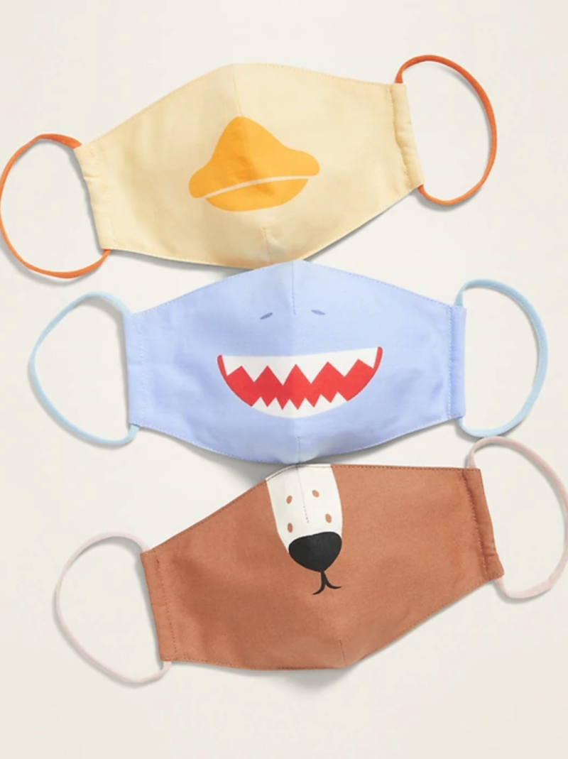Variety 3-Pack of Triple-Layer Cloth Critter Face Masks (with Laundry Bag) for Kids in Duck/Blue Shark/Deer