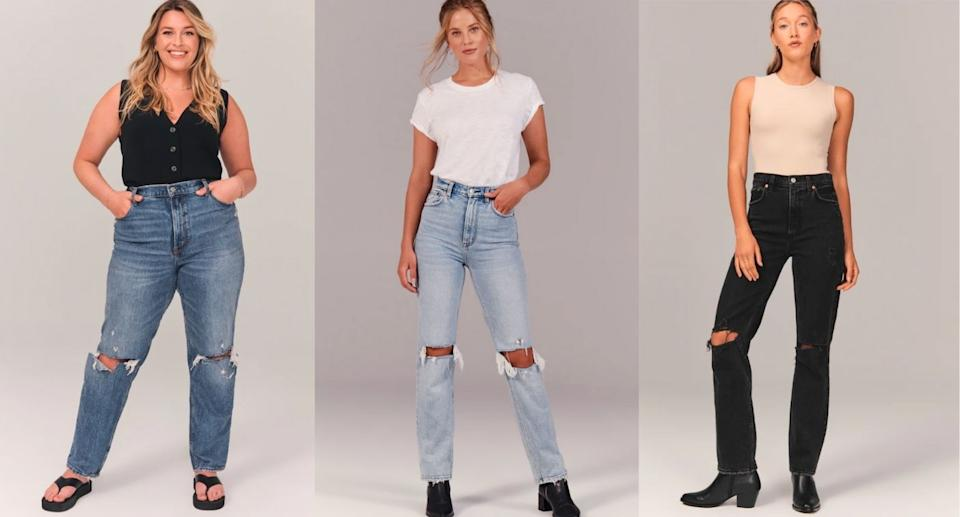 Abercrombie's 90s Ultra High Rise Straight Jeans are going viral on TikTok (Images via Abercombie)