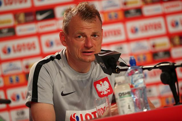 Soccer Football - World Cup - Poland Press Conference - Poland Training Camp, Sochi, Russia - June 14, 2018 Poland assistant coach Bogdan Zajac during the press conference REUTERS/Hannah McKay