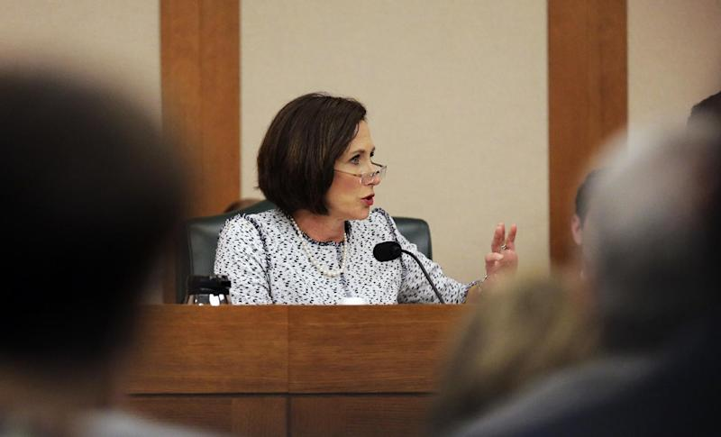 "Texas Sen. Lois Kolkhorst, R-Brenham, speaks as the Senate State Affairs Committee begin talks about Senate Bill 6 at the Texas Capitol, Tuesday, March 7, 2017, in Austin, Texas. The the transgender ""bathroom bill"" would require people to use public bathrooms and restrooms that correspond with the sex on their birth certificate. (AP Photo/Eric Gay)"