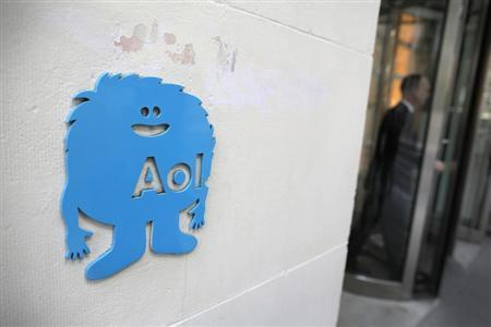 The AOL logo is seen at the company's office in New York
