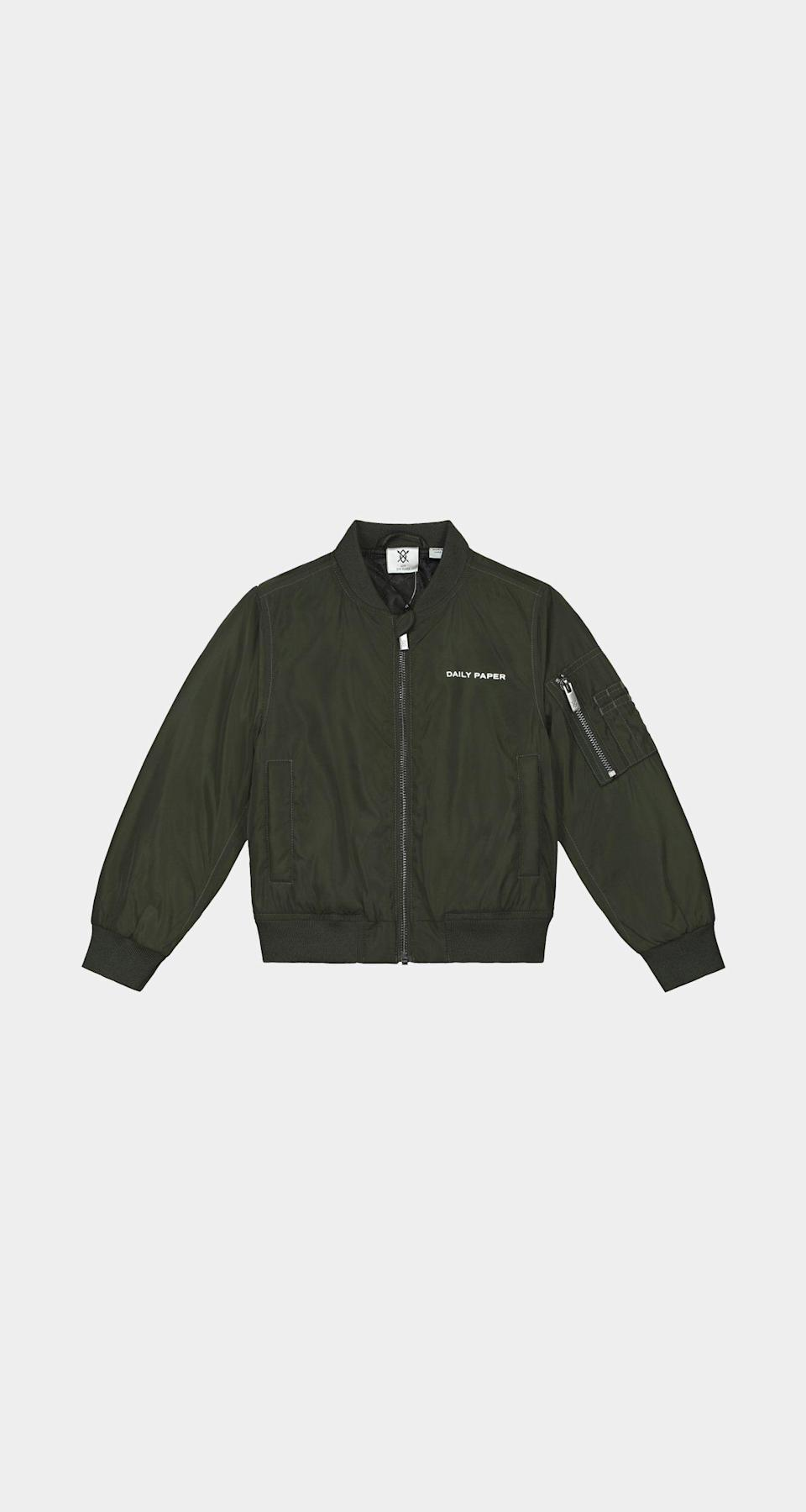 """<p><strong>kids</strong></p><p>dailypaperclothing.com</p><p><strong>132.00</strong></p><p><a href=""""https://www.dailypaperclothing.com/collections/kids-line/products/green-kids-bomber-jacket?variant=34888662679686"""" rel=""""nofollow noopener"""" target=""""_blank"""" data-ylk=""""slk:Shop Now"""" class=""""link rapid-noclick-resp"""">Shop Now</a></p><p>Bomb dot com. </p>"""