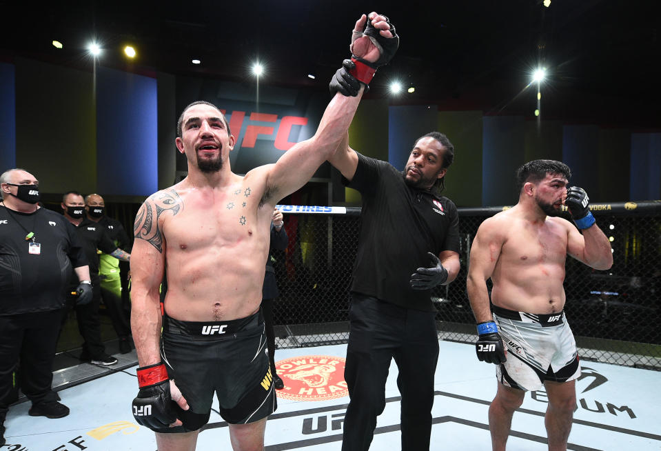 LAS VEGAS, NEVADA - APRIL 17: Robert Whittaker of Australia reacts after his victory over Kelvin Gastelum in a middleweight fight during the UFC Fight Night event at UFC APEX on April 17, 2021 in Las Vegas, Nevada. (Photo by Chris Unger/Zuffa LLC)