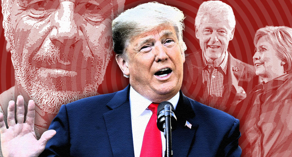 Jeffrey Epstein, Donald Trump, and Bill and Hillary Clinton. (Photo illustration: Yahoo News; photos: New York State Sex Offender Registry via AP, AP(3), Getty Images)