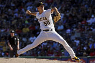 Pittsburgh Pirates starting pitcher Jameson Taillon delivers in the fifth inning of a baseball game against the Philadelphia Phillies in Pittsburgh, Saturday, July 7, 2018. (AP Photo/Gene J. Puskar)